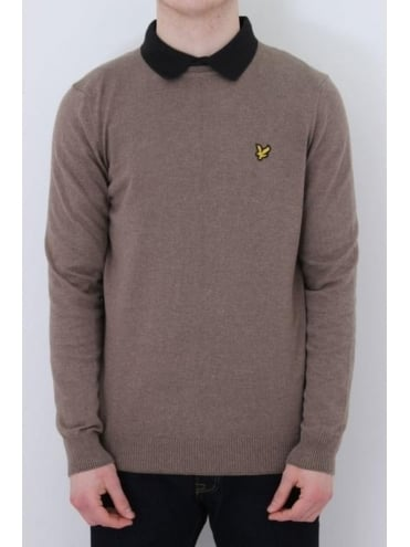 Lyle and Scott Crew Neck Cotton Merino Jumper - Brown