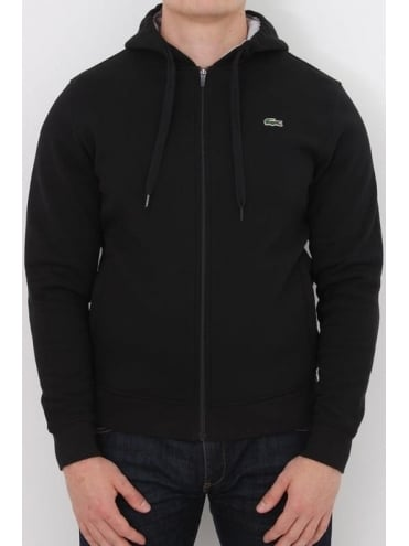 Lacoste Sport Hooded Zip Through Sweat - Black