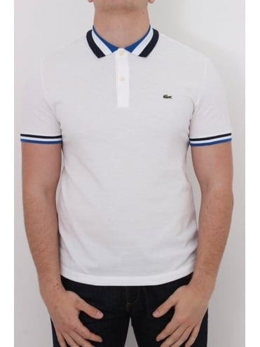 Lacoste Twin Tipped Collar Logo Polo - White And Blue