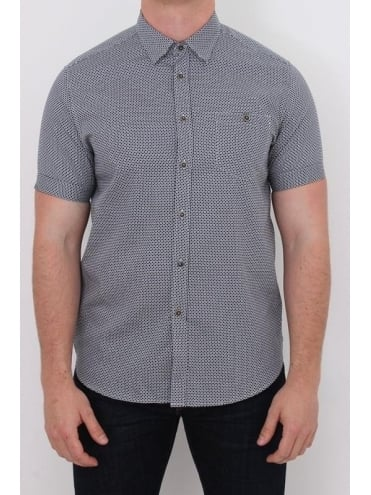 Ted Baker Munkee Diamond Print Shirt  - Navy