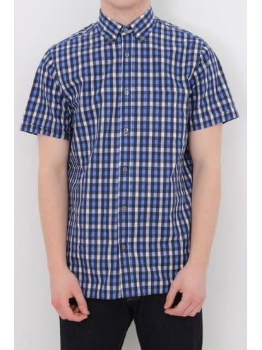 Aquascutum Ramsay Small Check S/S Shirt - Navy