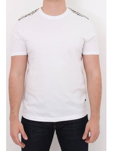 Aquascutum Noel Club Check Detail T-Shirt - White