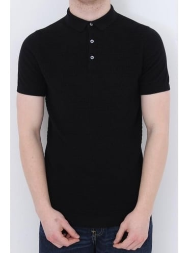 Remus Uomo Knitted Polo - Black