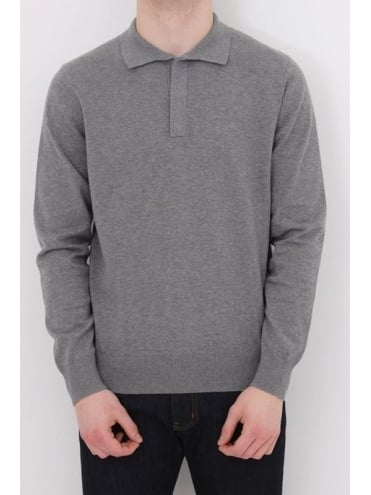 Armani Jeans Long Sleeve Knitted Logo Polo - Grey