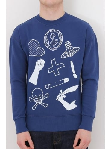 Vivienne Westwood Anglomania News Logo Crew Neck Sweat - Blue