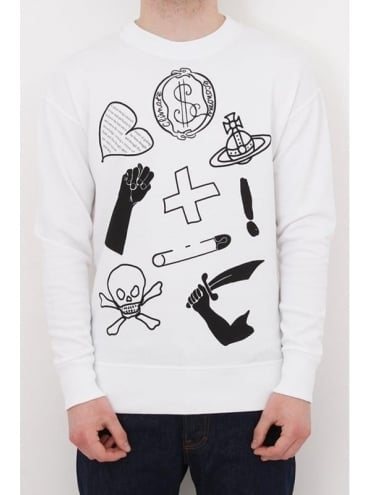 Vivienne Westwood Anglomania News Logo Crew Neck Sweat - White
