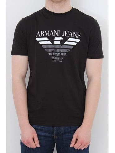 Armani Jeans New York Logo Crew T.Shirt - Black
