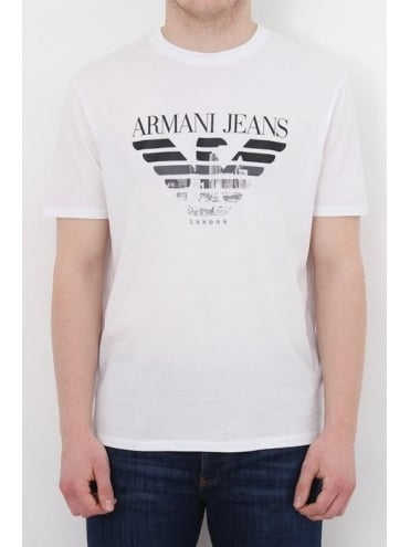 Armani Jeans London Logo Crew Neck T.Shirt - White