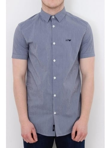 Armani Jeans Gingham Check Logo Shirt - Navy and White