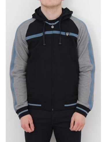 EA7 Contrast Sleeve Hooded Sweat - Navy