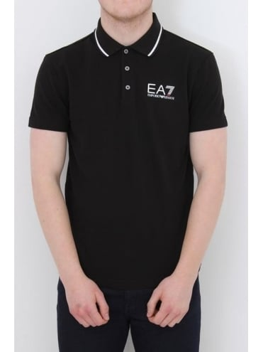 EA7 Tipped Collar Core Logo Polo - Black