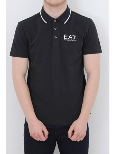 EA7 Tipped Collar Core Logo Polo - Navy