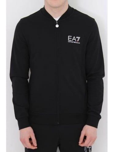 EA7 Core Logo Zip Through Sweat - Black