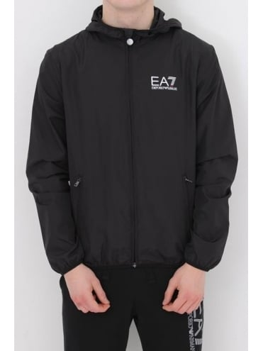 EA7 Core Logo Hooded Bomber Jacket In Black