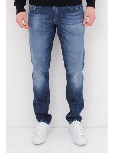 Replay Anbass Laserblast Jeans - Mid Wash