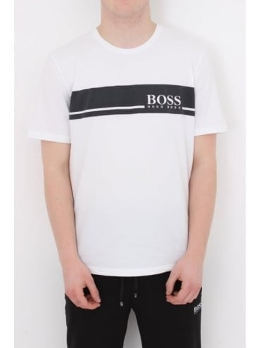 - BOSS Hugo Boss Solid Stripe Logo T.Shirt - White