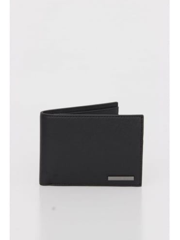 Armani Jeans Leather Billfold Wallet W/Coin -  Black