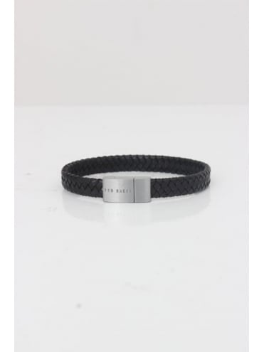 Ted Baker Cash Plaited Leather Bracelet - Black