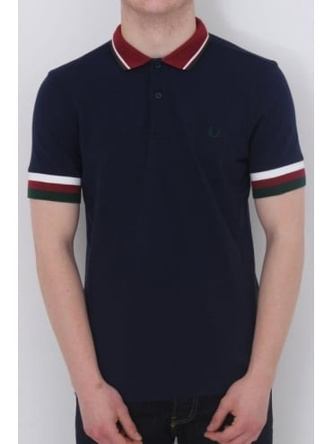 Fred Perry Striped Cuff Pique Polo - Carbon Blue