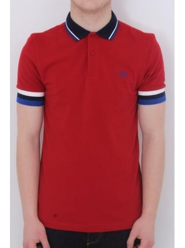 Fred Perry Striped Cuff Pique Polo - Blood Red