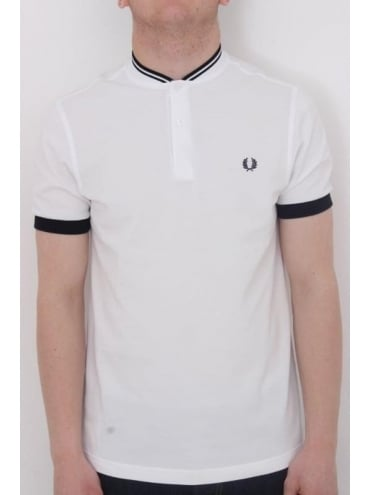 Fred Perry Bomber Collar Pique Polo - White