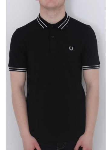 Fred Perry Tramline Tipped Pique Polo - Black