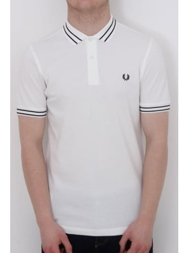 Fred Perry Tramline Tipped Polo - White