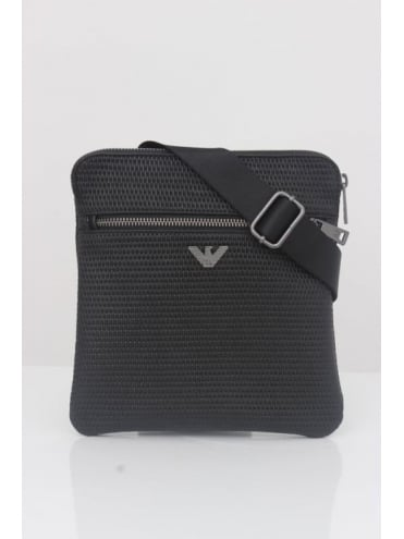 Armani Jeans Perforated Leather Messenger Bag - Black