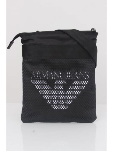Armani Jeans Logo Messenger Bag - Black
