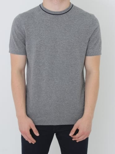 Ted Baker Zico Textured Knitted T.Shirt - Grey Marle