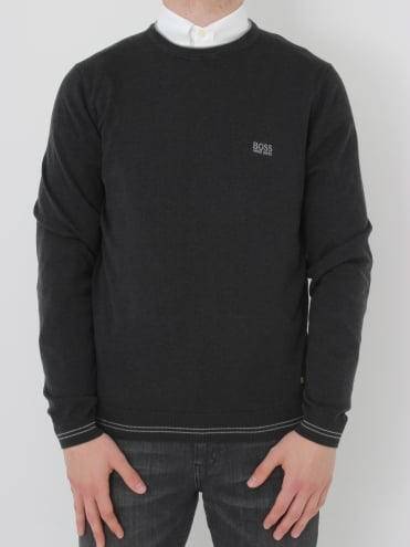 - BOSS Green Rime Crew Neck Knit - Charcoal