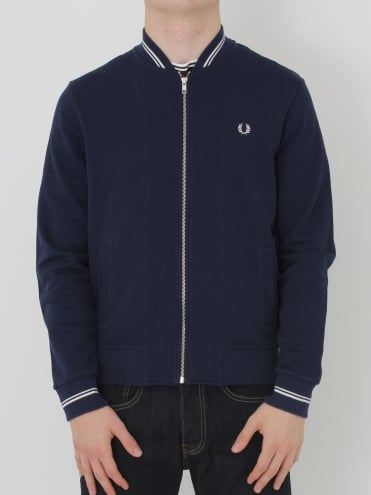 Fred Perry Bomber Neck Sweat - Carbon Blue