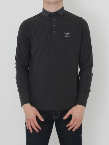 Barbour Standards Long Sleeve Polo - Charcoal