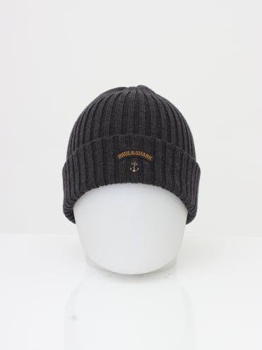 Paul and Shark Knitted Logo Beanie - Dark Grey