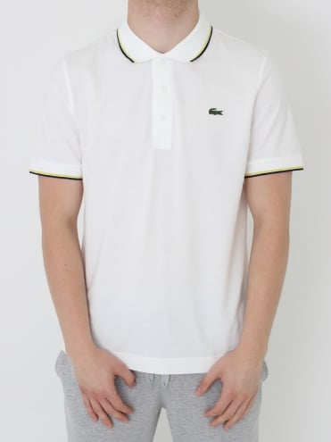 Lacoste Sport Tipped Collar Polo - White