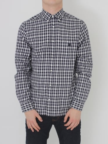 Aquascutum York Club Check Shirt - Navy/White