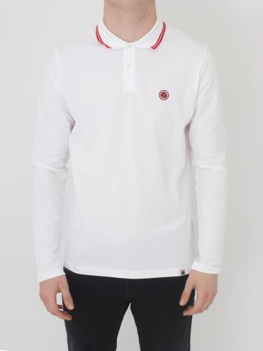 Pretty Green Barton L/Sleeved Tipped Polo in White