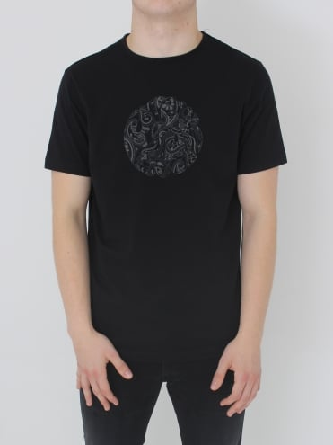 Pretty Green Thornley Paisley Logo T.Shirt - Black