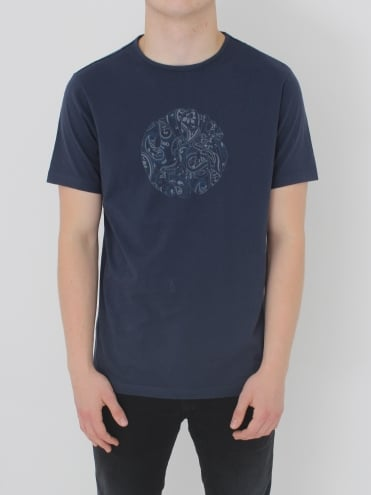 Pretty Green Thornley Paisley Logo T.Shirt - Navy
