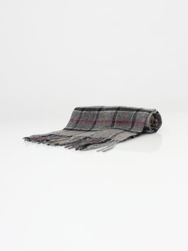 Barbour Tartan Lambswool Scarf - Grey