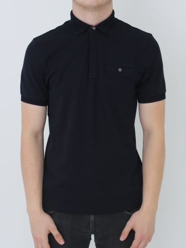 Ted Baker Witnay Textured Polo - Navy Blue