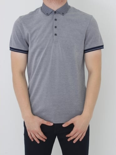 Ted Baker Branin Woven Collar Polo - Navy