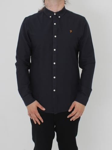 Farah Brewer Slim Long Sleeve Shirt - Navy