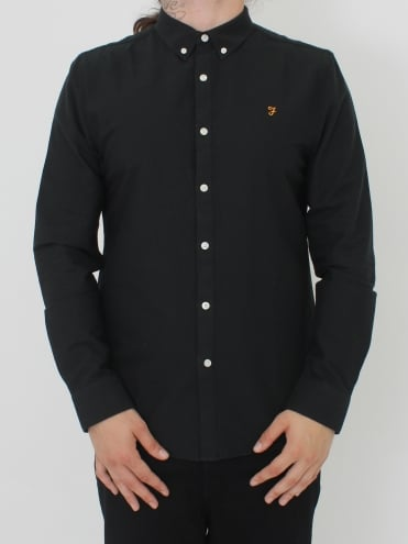Farah Brewer Slim Long Sleeve Shirt - Black Ink