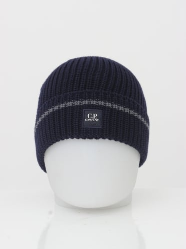 CP Company Stamp Logo Beanie - Eclipse
