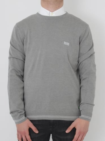 - BOSS Green Rime Crew Neck Knit - Pastel Grey
