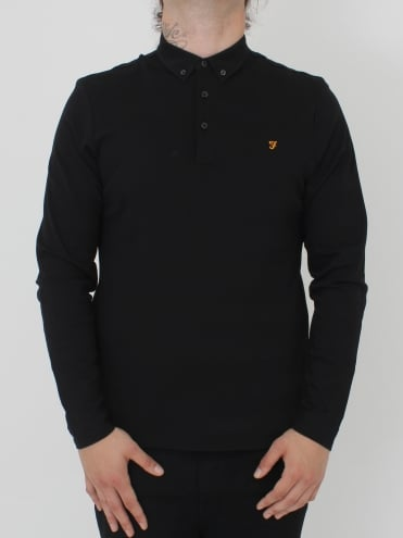 Farah Stapleton L/Sleeve Polo - Black