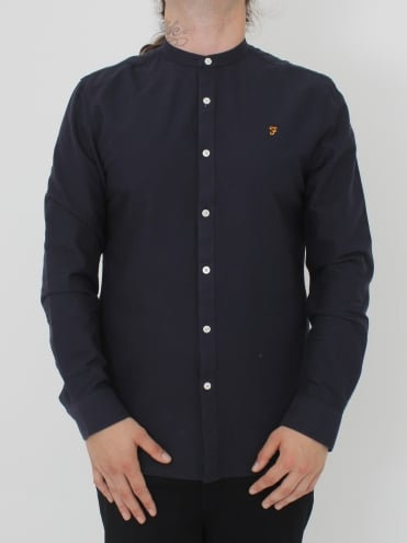 Farah Brewer Slim Grandad Shirt - Navy