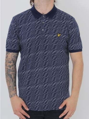 Lyle and Scott Distorted Pattern Polo - Navy