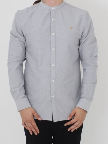 Farah Brewer Slim Grandad Shirt - Anthracite